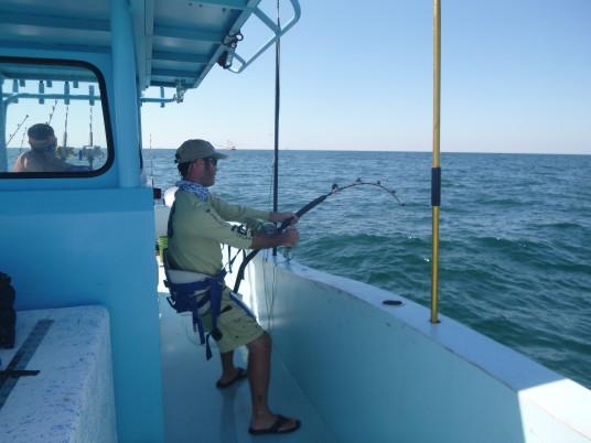 Capt Charlie Ellis fighting a tuna in venice, LA