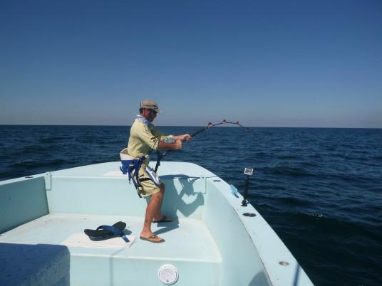 Capt Charlie Ellis fighting giant yellowfin tuna