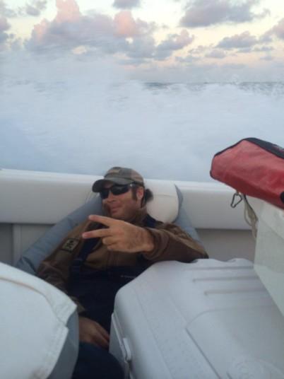 Capt Charlie Ellis in rough seas